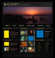 炫酷黑色国外网页设计模板图片