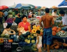 菜市场中的人群图片