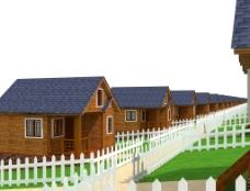 生态木屋酒店及木栅栏图片