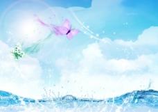 唯美蝴蝶水背景图片