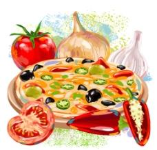 蔬菜和披萨图片