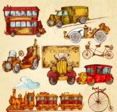 彩绘复古交通 工具图片