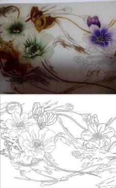 牡丹线条图图片