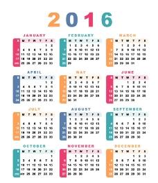 2016日历图片