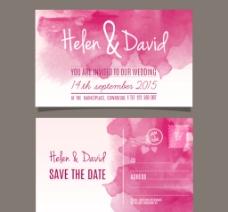 粉色水彩婚礼图片