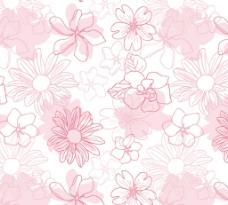 浅粉色 手绘花卉 无缝背景图片