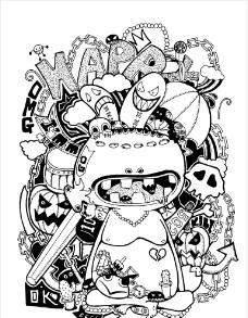 卡通怪物的杂乱世界图片