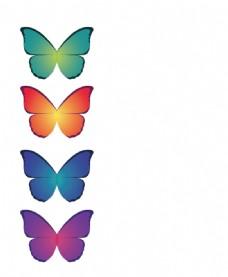 蝴蝶 彩色 4个图片