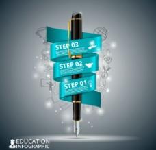 黑色钢笔教育 信息图图片