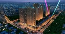 建筑夜景外观效果图图片