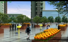 小区环境绿化设计3d效果图图片