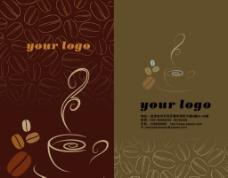 棕色咖啡名片 咖啡豆 咖啡杯图片