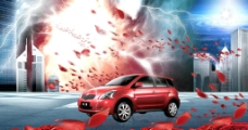 红色小车图片