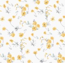 黄色小花面料花型图片