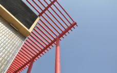 红色 建筑 飘动 柱子 户外图片