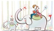 超有爱心的大象与小象图片