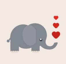 卡通喷爱心的大象图片