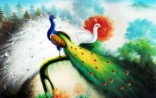 绿白双雀图片