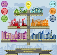 创意城市基础设施信息图矢量素材图片