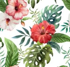 唯美热带水彩花纹背景图片
