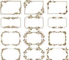 12款复古花纹装饰框矢量素材图片