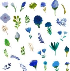 蓝色水彩风格小清新森系树叶花朵图片