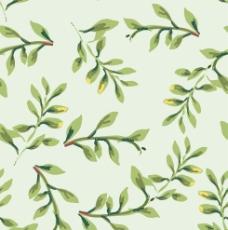 卡通小清新四方连续背景绿色树叶图片