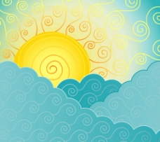 抽象云层 中的太阳图片