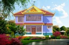 云南傣族新农村二层建筑图片