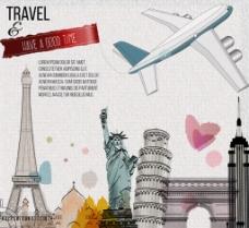 水彩环球 旅行插画图片