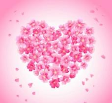 粉色樱花 组合爱心图片