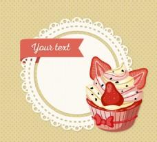 纸杯蛋糕 装饰圆形 标签