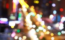 城市夜景多彩光斑