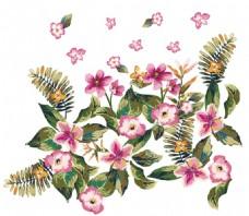 热带雨林植物 数码印花