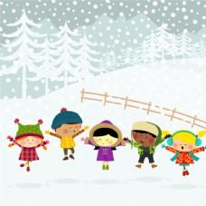雪天背景卡通图