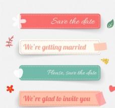 彩色长条婚礼贴纸矢量图