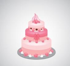 粉色三层蛋糕设计矢量素材