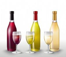 葡萄酒和酒杯矢量图