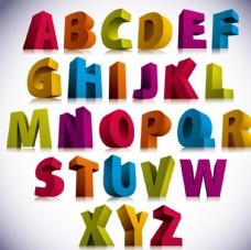 3D字母设计矢量图