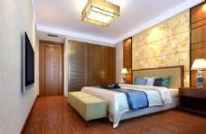 新中式卧室效果图及模型