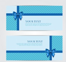 蓝色蝴蝶结卡片矢量图