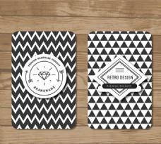 黑白花纹卡片矢量素材