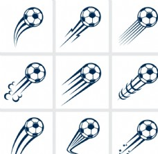动感飞起的足球矢量图