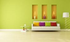 绿色沙发背景墙