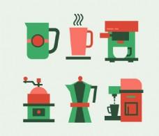 咖啡机和咖啡杯