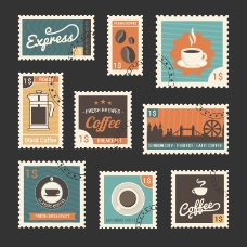 9款复古咖啡相关邮票