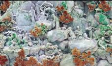 山水画玉雕背景墙