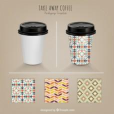 咖啡杯图案矢量素材
