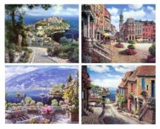 西欧海边城镇高清四宫格现代风景油画