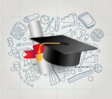 博士帽与毕业证书图片